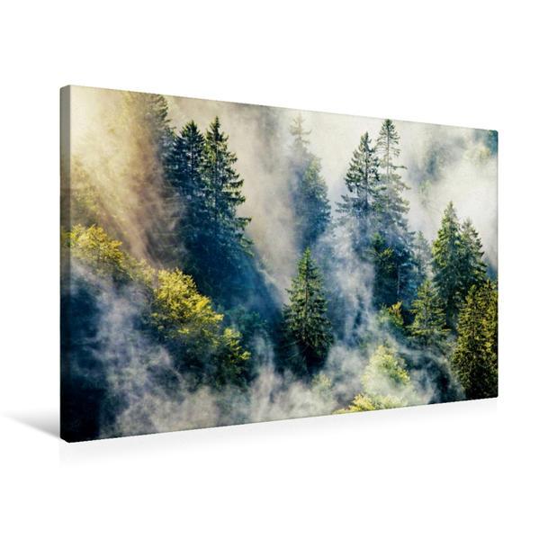 Premium Textil-Leinwand 75 cm x 50 cm quer, Schwarzwald im Nebel | Wandbild, Bild auf Keilrahmen, Fertigbild auf echter Leinwand, Leinwanddruck - Coverbild