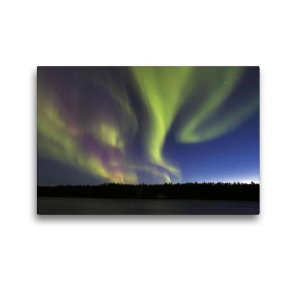 Premium Textil-Leinwand 45 cm x 30 cm quer, Polarlicht über dem Muonionjoki | Wandbild, Bild auf Keilrahmen, Fertigbild auf echter Leinwand, Leinwanddruck - Coverbild