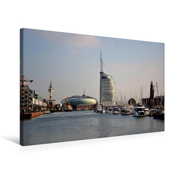 Premium Textil-Leinwand 75 cm x 50 cm quer, Neuer Hafen - Bremerhaven | Wandbild, Bild auf Keilrahmen, Fertigbild auf echter Leinwand, Leinwanddruck - Coverbild
