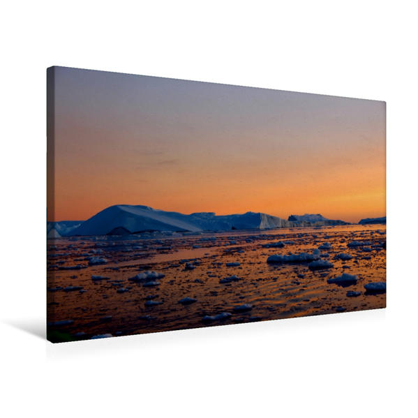 Premium Textil-Leinwand 75 cm x 50 cm quer, Abenddämmerung vor Ilulissat | Wandbild, Bild auf Keilrahmen, Fertigbild auf echter Leinwand, Leinwanddruck - Coverbild