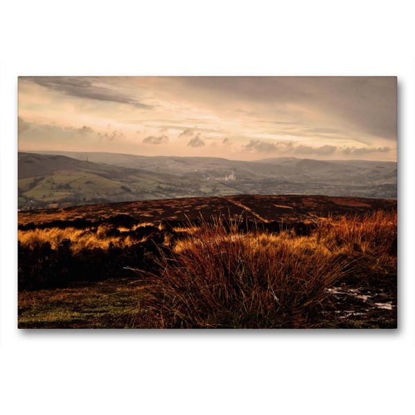 Premium Textil-Leinwand 90 cm x 60 cm quer, Peak District - Sheffield | Wandbild, Bild auf Keilrahmen, Fertigbild auf echter Leinwand, Leinwanddruck - Coverbild