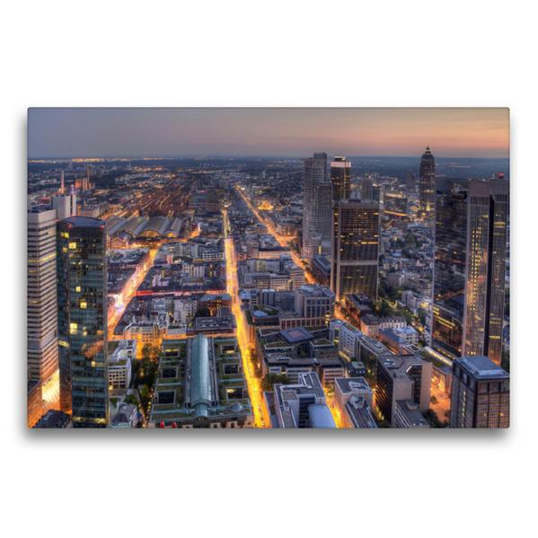Premium Textil-Leinwand 75 cm x 50 cm quer, Frankfurt/Main - Maintower   Wandbild, Bild auf Keilrahmen, Fertigbild auf echter Leinwand, Leinwanddruck - Coverbild