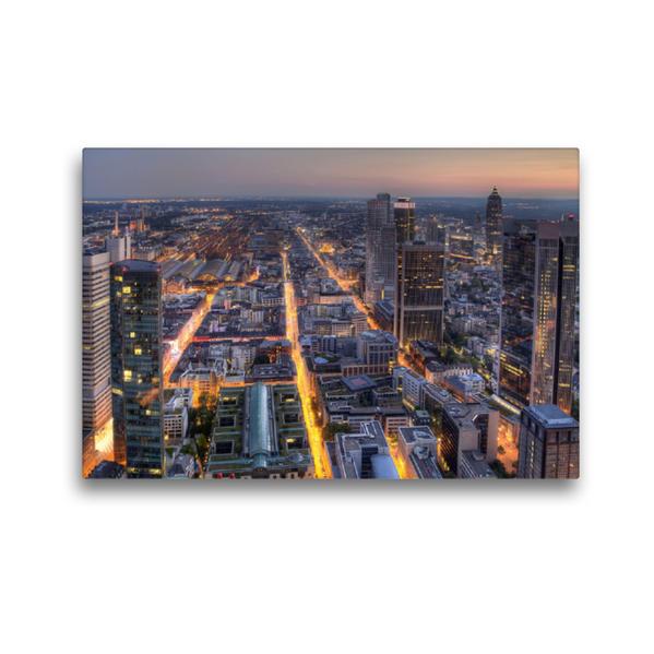 Premium Textil-Leinwand 45 cm x 30 cm quer, Frankfurt/Main - Maintower | Wandbild, Bild auf Keilrahmen, Fertigbild auf echter Leinwand, Leinwanddruck - Coverbild