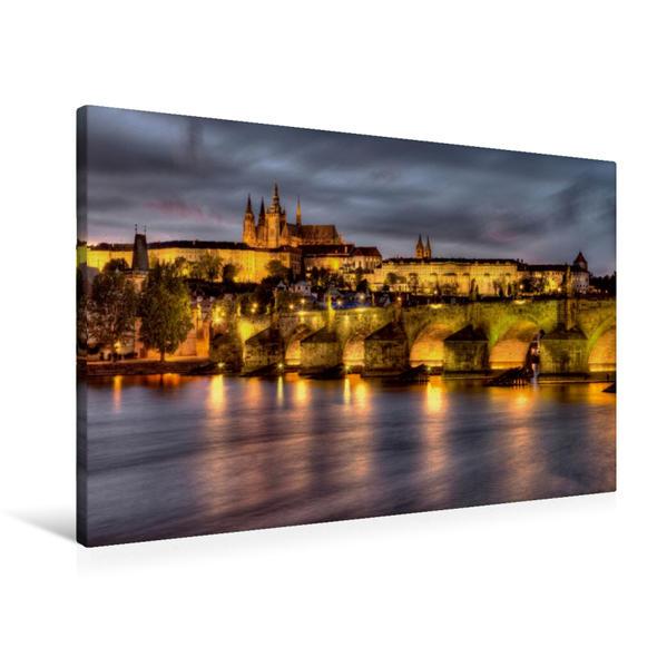 Premium Textil-Leinwand 90 cm x 60 cm quer, Prag - Schloß Prag | Wandbild, Bild auf Keilrahmen, Fertigbild auf echter Leinwand, Leinwanddruck - Coverbild