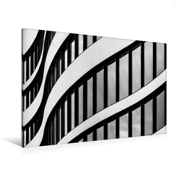 Premium Textil-Leinwand 120 cm x 80 cm quer, Fassadenansicht Panta Rhei - Bürogebäude Düsseldorf | Wandbild, Bild auf Keilrahmen, Fertigbild auf echter Leinwand, Leinwanddruck - Coverbild
