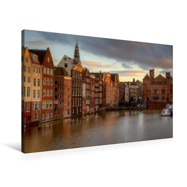 Premium Textil-Leinwand 90 cm x 60 cm quer, Amsterdam - Niederlande | Wandbild, Bild auf Keilrahmen, Fertigbild auf echter Leinwand, Leinwanddruck - Coverbild