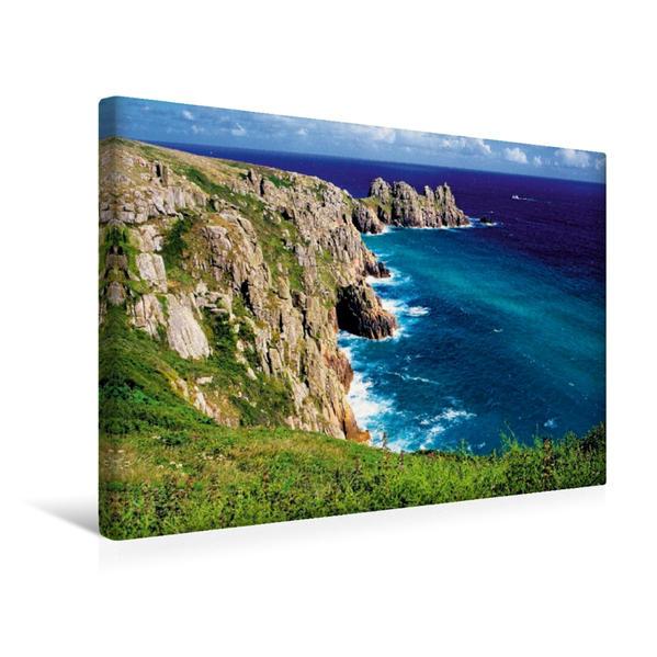 Premium Textil-Leinwand 45 cm x 30 cm quer, Steile Klippen, rauhe See an der Küste von Cornwall - das englische Paradies im Südwesten des Vereinigten Königreichs | Wandbild, Bild auf Keilrahmen, Fertigbild auf echter Leinwand, Leinwanddruck - Coverbild