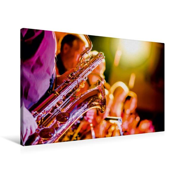 Premium Textil-Leinwand 90 cm x 60 cm quer, Saxophon - schön und sexy | Wandbild, Bild auf Keilrahmen, Fertigbild auf echter Leinwand, Leinwanddruck - Coverbild