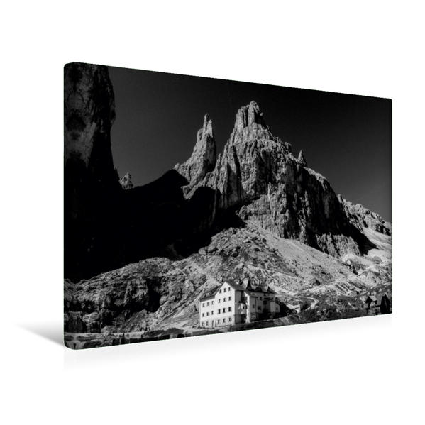 Premium Textil-Leinwand 45 cm x 30 cm quer, Vajolethütte am Fuß der bizarren Vajolettürme, Dolomiten | Wandbild, Bild auf Keilrahmen, Fertigbild auf echter Leinwand, Leinwanddruck - Coverbild