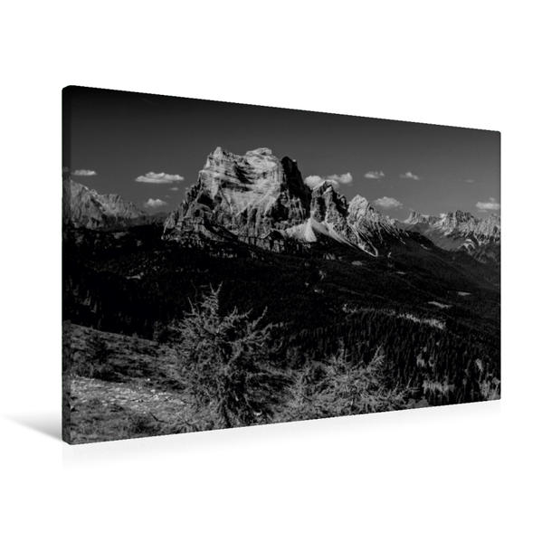 Premium Textil-Leinwand 90 cm x 60 cm quer, Blickfang Monte Pelmo, 3.168 m | Wandbild, Bild auf Keilrahmen, Fertigbild auf echter Leinwand, Leinwanddruck - Coverbild