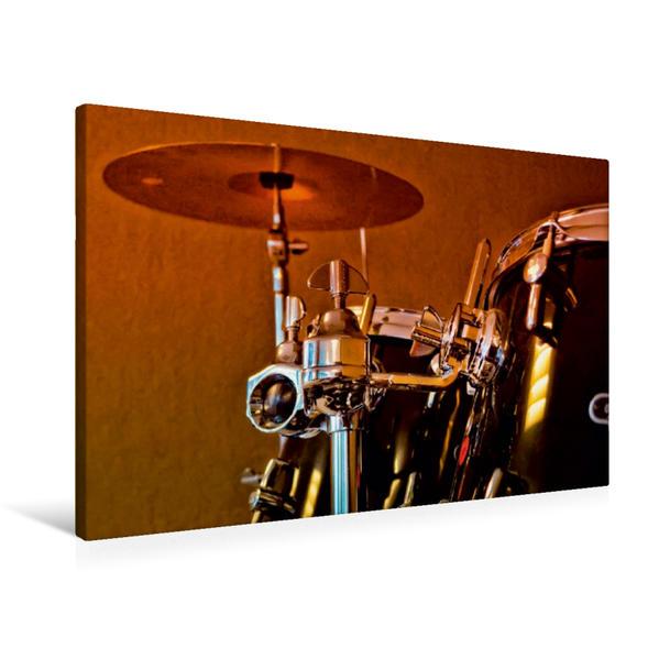 Premium Textil-Leinwand 90 cm x 60 cm quer, Schlagzeug - einfach cool   Wandbild, Bild auf Keilrahmen, Fertigbild auf echter Leinwand, Leinwanddruck - Coverbild