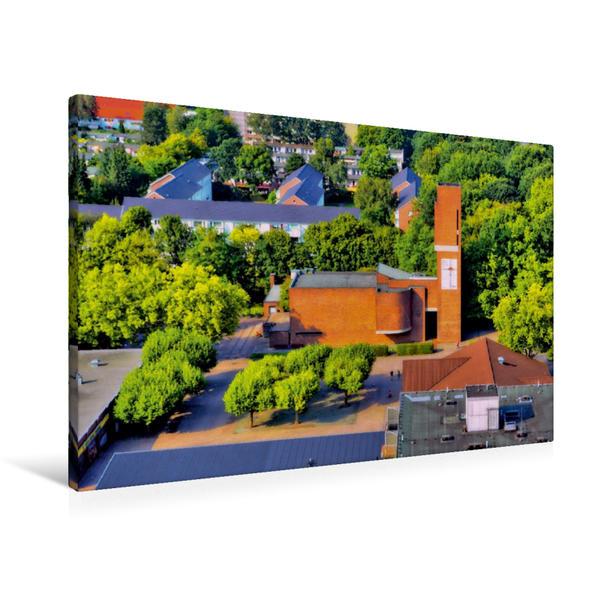 Premium Textil-Leinwand 90 cm x 60 cm quer, Nathan-Söderblom-Kirche Reinbek | Wandbild, Bild auf Keilrahmen, Fertigbild auf echter Leinwand, Leinwanddruck - Coverbild