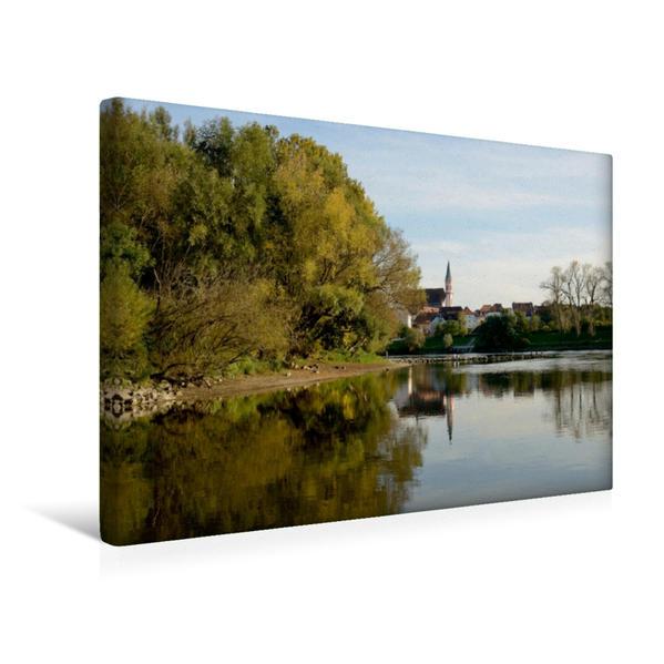Premium Textil-Leinwand 45 cm x 30 cm quer, Die Donau bei Straubing | Wandbild, Bild auf Keilrahmen, Fertigbild auf echter Leinwand, Leinwanddruck - Coverbild
