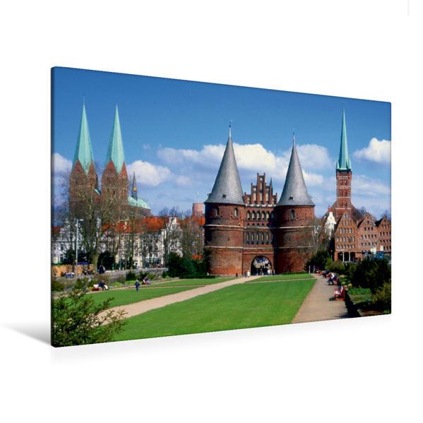Premium Textil-Leinwand 120 cm x 80 cm quer, Altstadt Lübeck, von Unesco als Weltkulturerbe anerkannt | Wandbild, Bild auf Keilrahmen, Fertigbild auf echter Leinwand, Leinwanddruck - Coverbild