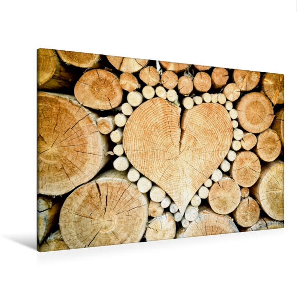 Premium Textil-Leinwand 120 cm x 80 cm quer, Herz Holzmaserung | Wandbild, Bild auf Keilrahmen, Fertigbild auf echter Leinwand, Leinwanddruck - Coverbild