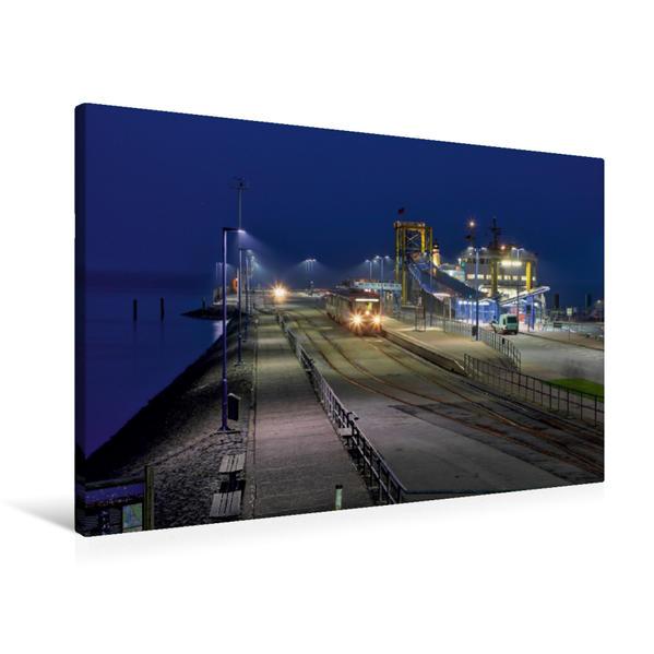 Premium Textil-Leinwand 90 cm x 60 cm quer, Nacht in Dagebüll Mole | Wandbild, Bild auf Keilrahmen, Fertigbild auf echter Leinwand, Leinwanddruck - Coverbild