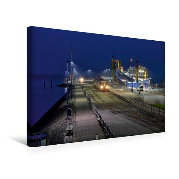 Premium Textil-Leinwand 45 cm x 30 cm quer, Nacht in Dagebüll Mole | Wandbild, Bild auf Keilrahmen, Fertigbild auf echter Leinwand, Leinwanddruck - Coverbild