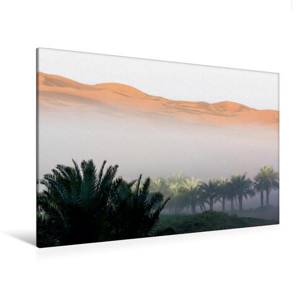 Premium Textil-Leinwand 120 cm x 80 cm quer, Nebel über der Oase | Wandbild, Bild auf Keilrahmen, Fertigbild auf echter Leinwand, Leinwanddruck - Coverbild