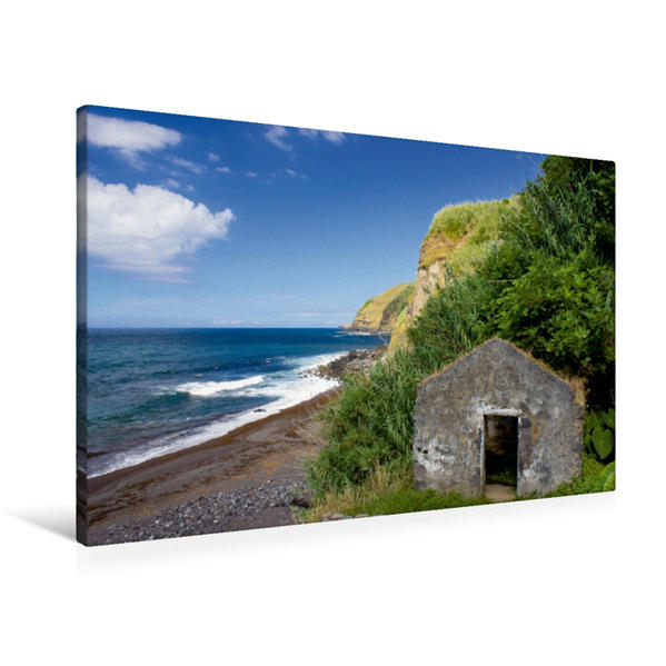 Premium Textil-Leinwand 90 cm x 60 cm quer, Azoren - Praia da Viola | Wandbild, Bild auf Keilrahmen, Fertigbild auf echter Leinwand, Leinwanddruck - Coverbild