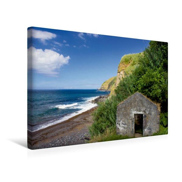 Premium Textil-Leinwand 45 cm x 30 cm quer, Azoren - Praia da Viola | Wandbild, Bild auf Keilrahmen, Fertigbild auf echter Leinwand, Leinwanddruck - Coverbild
