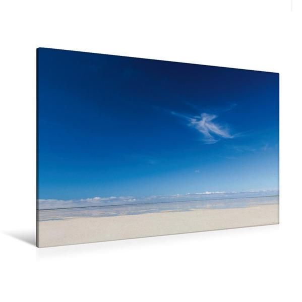 Premium Textil-Leinwand 120 cm x 80 cm quer, Einsame Wolke am Strand von Sankt Peter Ording | Wandbild, Bild auf Keilrahmen, Fertigbild auf echter Leinwand, Leinwanddruck - Coverbild