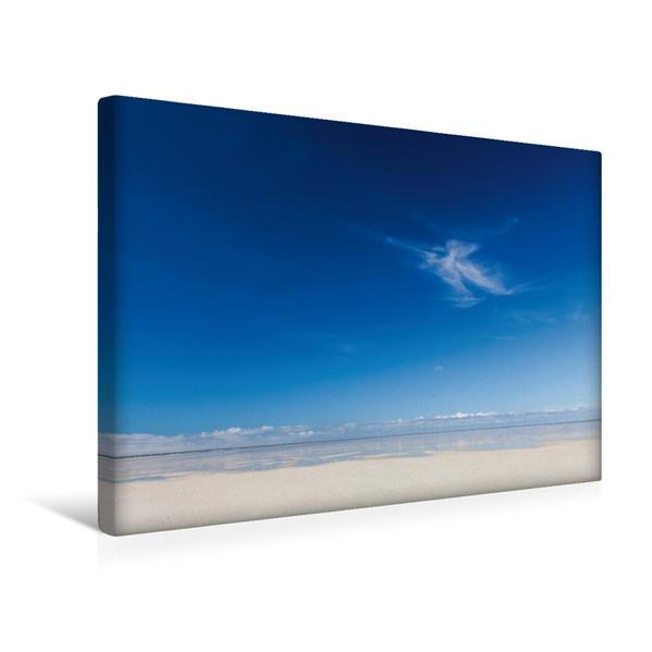 Premium Textil-Leinwand 45 cm x 30 cm quer, Einsame Wolke am Strand von Sankt Peter Ording   Wandbild, Bild auf Keilrahmen, Fertigbild auf echter Leinwand, Leinwanddruck - Coverbild