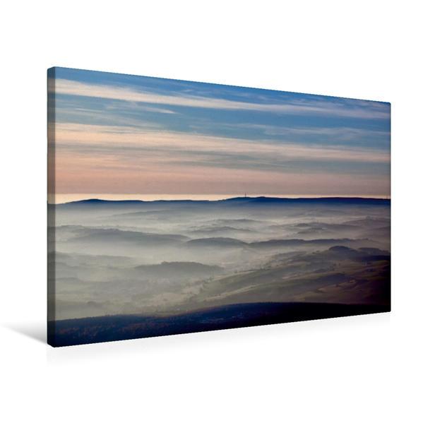 Premium Textil-Leinwand 75 cm x 50 cm quer, Nebel liegt über dem Fuldaer Land | Wandbild, Bild auf Keilrahmen, Fertigbild auf echter Leinwand, Leinwanddruck - Coverbild