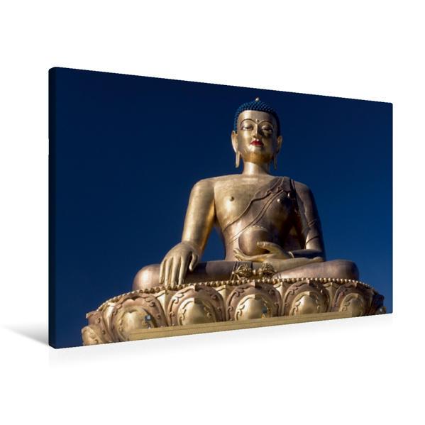 Premium Textil-Leinwand 90 cm x 60 cm quer, Bhudda in Thimphu | Wandbild, Bild auf Keilrahmen, Fertigbild auf echter Leinwand, Leinwanddruck - Coverbild