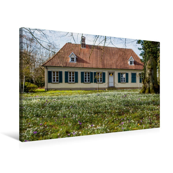 Premium Textil-Leinwand 75 cm x 50 cm quer, Frühling am Richthof - erbaut 1820 | Wandbild, Bild auf Keilrahmen, Fertigbild auf echter Leinwand, Leinwanddruck - Coverbild