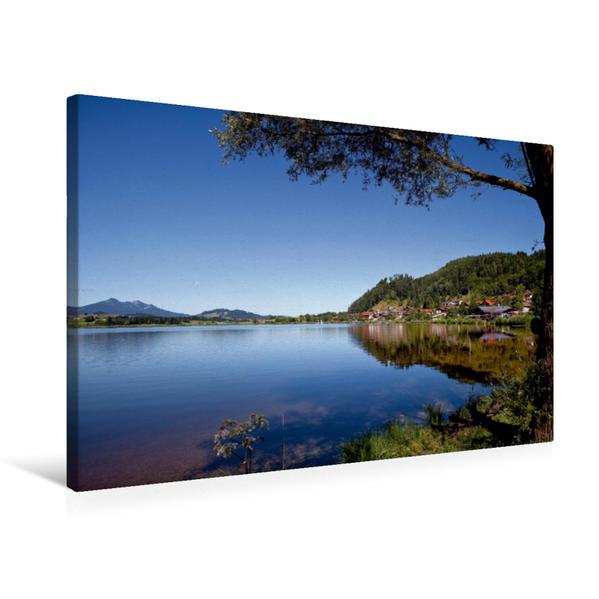 Premium Textil-Leinwand 75 cm x 50 cm quer, Still liegt der See | Wandbild, Bild auf Keilrahmen, Fertigbild auf echter Leinwand, Leinwanddruck - Coverbild
