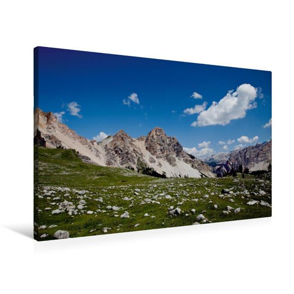 Premium Textil-Leinwand 90 cm x 60 cm quer, Traumhafte Dolomiten | Wandbild, Bild auf Keilrahmen, Fertigbild auf echter Leinwand, Leinwanddruck - Coverbild