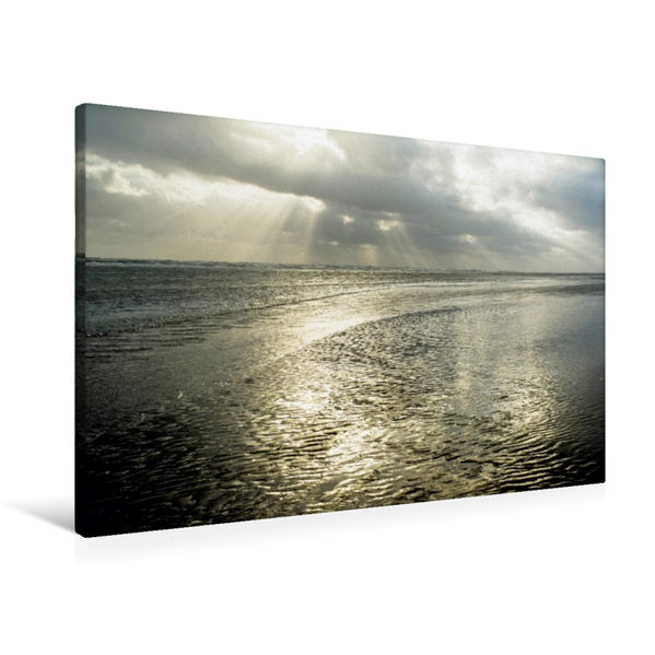 Premium Textil-Leinwand 90 cm x 60 cm quer, Rindby Strand   Wandbild, Bild auf Keilrahmen, Fertigbild auf echter Leinwand, Leinwanddruck - Coverbild