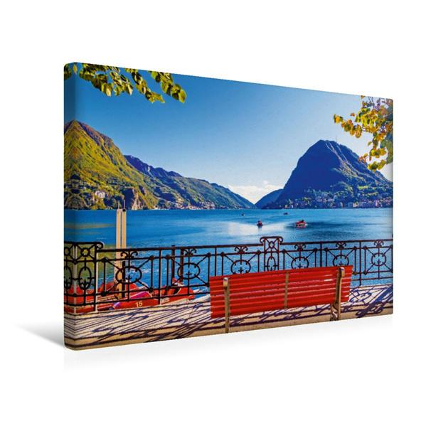 Premium Textil-Leinwand 45 cm x 30 cm quer, Pause am Luganer See, Tessin | Wandbild, Bild auf Keilrahmen, Fertigbild auf echter Leinwand, Leinwanddruck - Coverbild