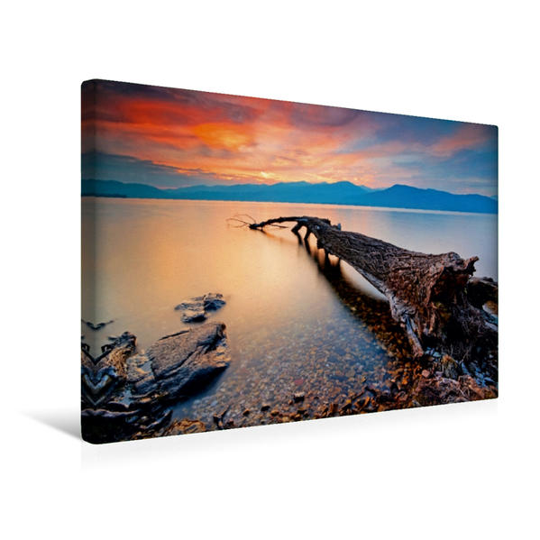 Premium Textil-Leinwand 45 cm x 30 cm quer, Abend über dem Lago Maggiore, Tessin   Wandbild, Bild auf Keilrahmen, Fertigbild auf echter Leinwand, Leinwanddruck - Coverbild