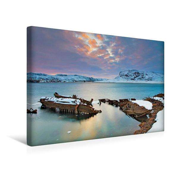 Premium Textil-Leinwand 45 cm x 30 cm quer, Die Küste bei Murmansk im malerischen Abendlicht | Wandbild, Bild auf Keilrahmen, Fertigbild auf echter Leinwand, Leinwanddruck - Coverbild