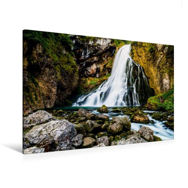 Premium Textil-Leinwand 120 cm x 80 cm quer, Gollinger Wasserfall   Wandbild, Bild auf Keilrahmen, Fertigbild auf echter Leinwand, Leinwanddruck - Coverbild