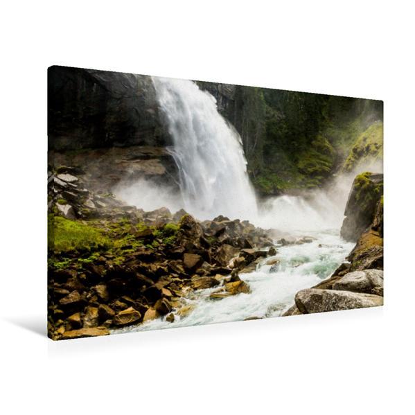 Premium Textil-Leinwand 90 cm x 60 cm quer, Krimml Wasserfall | Wandbild, Bild auf Keilrahmen, Fertigbild auf echter Leinwand, Leinwanddruck - Coverbild