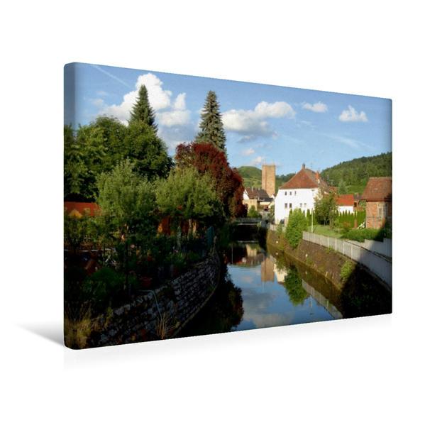Premium Textil-Leinwand 45 cm x 30 cm quer, An der Ufer der schöne Erfa. | Wandbild, Bild auf Keilrahmen, Fertigbild auf echter Leinwand, Leinwanddruck - Coverbild