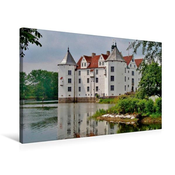 Premium Textil-Leinwand 75 cm x 50 cm quer, Schloss Glücksburg   Wandbild, Bild auf Keilrahmen, Fertigbild auf echter Leinwand, Leinwanddruck - Coverbild