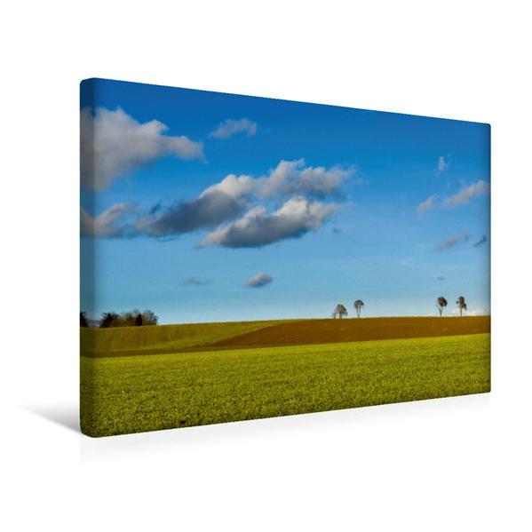 Premium Textil-Leinwand 45 cm x 30 cm quer, Wiesen und Felder nahe Andechs | Wandbild, Bild auf Keilrahmen, Fertigbild auf echter Leinwand, Leinwanddruck - Coverbild
