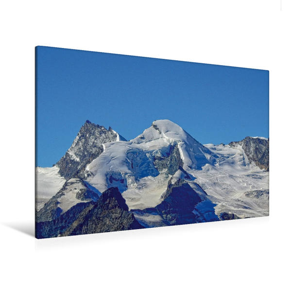 Premium Textil-Leinwand 120 cm x 80 cm quer, Allalinhorn   Wandbild, Bild auf Keilrahmen, Fertigbild auf echter Leinwand, Leinwanddruck - Coverbild