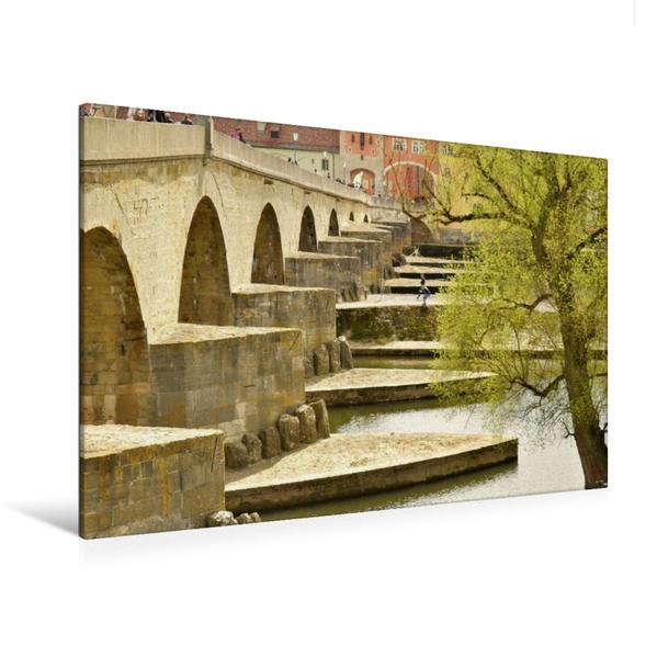 Premium Textil-Leinwand 120 cm x 80 cm quer, Regensburg | Wandbild, Bild auf Keilrahmen, Fertigbild auf echter Leinwand, Leinwanddruck - Coverbild