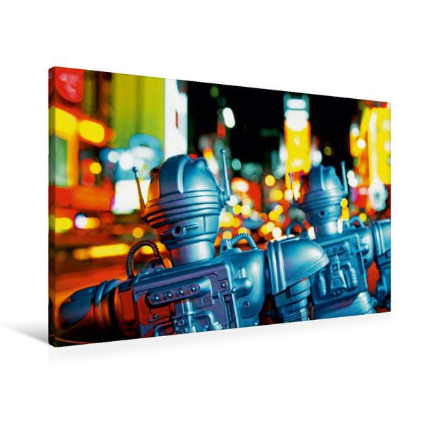 Premium Textil-Leinwand 90 cm x 60 cm quer, Spielzeugroboter auf dem Times Square, New York City, USA | Wandbild, Bild auf Keilrahmen, Fertigbild auf echter Leinwand, Leinwanddruck - Coverbild