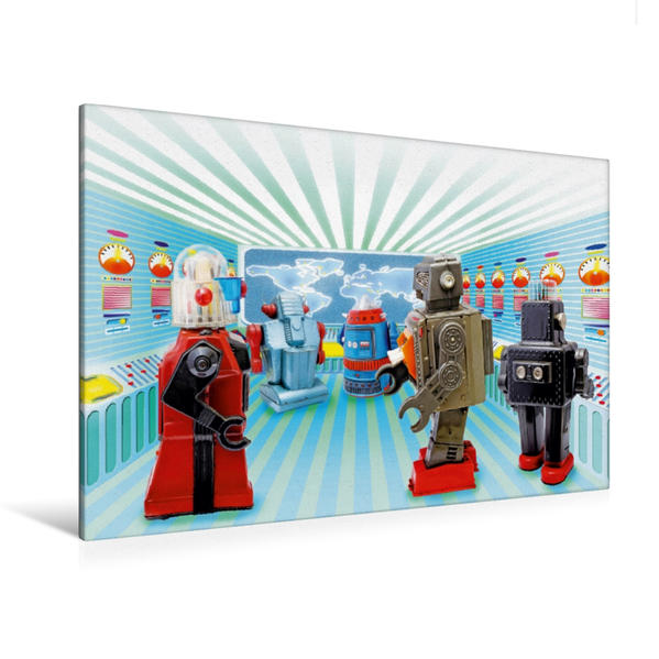 Premium Textil-Leinwand 120 cm x 80 cm quer, Alles im Griff – Spielzeug-Roboter arbeiten fleißig  im Kontollraum   Wandbild, Bild auf Keilrahmen, Fertigbild auf echter Leinwand, Leinwanddruck - Coverbild