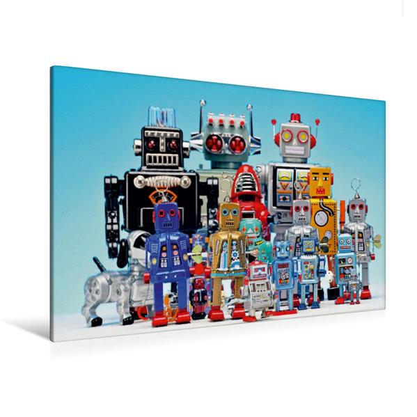 Premium Textil-Leinwand 120 cm x 80 cm quer, Familientreffen unter Spielzeugrobotern | Wandbild, Bild auf Keilrahmen, Fertigbild auf echter Leinwand, Leinwanddruck - Coverbild