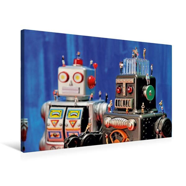 Premium Textil-Leinwand 75 cm x 50 cm quer, Miniatur Plastik-Männchen besuchen die Blech-Roboter | Wandbild, Bild auf Keilrahmen, Fertigbild auf echter Leinwand, Leinwanddruck - Coverbild