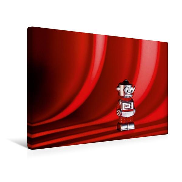 Premium Textil-Leinwand 45 cm x 30 cm quer, Bühne frei für den freundlichen Spielzeug-Roboter | Wandbild, Bild auf Keilrahmen, Fertigbild auf echter Leinwand, Leinwanddruck - Coverbild