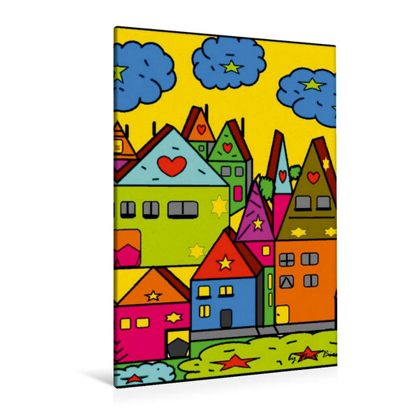 Premium Textil-Leinwand 80 cm x 120 cm  hoch, Dorf Popart | Wandbild, Bild auf Keilrahmen, Fertigbild auf echter Leinwand, Leinwanddruck - Coverbild