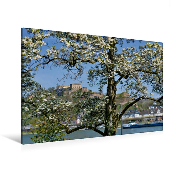 Premium Textil-Leinwand 120 cm x 80 cm quer, Koblenz   Wandbild, Bild auf Keilrahmen, Fertigbild auf echter Leinwand, Leinwanddruck - Coverbild