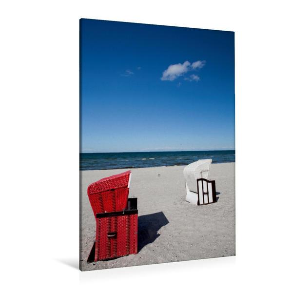 Premium Textil-Leinwand 80 cm x 120 cm  hoch, Strandkörbe am Meer | Wandbild, Bild auf Keilrahmen, Fertigbild auf echter Leinwand, Leinwanddruck - Coverbild